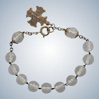 French Silver and Crystal Glass Bead Dizainier Bracelet