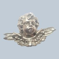 Cherub's Head Sterling Silver Pin