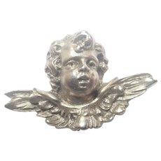 Cherub's Head Sterling Silver Pin