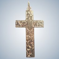 English Antique 9K Gold Engraved Cross Pendant
