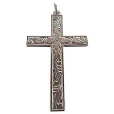 Sterling Silver Engraved Cross Pendant