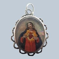 French 19C Religious Painted Images Silver Pendant/Charm