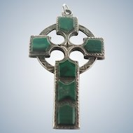 Victorian Celtic Sterling Silver and Malachite Cross Pendant