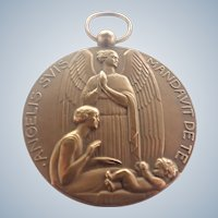French Art Deco Large Bronze Angel Hanging Medal
