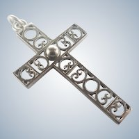 French Art Deco Silver Cross - H Teguy
