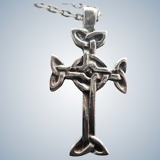 Sterling Silver Celtic Cross Pendant and Chain Necklace