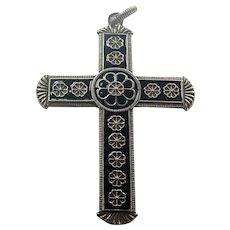 Norwegian Large Silver Enamel Cross Pendant - J TOSTRUP