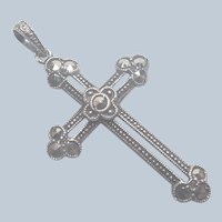 European 835 Silver and Marcasite Cross Pendant Charm