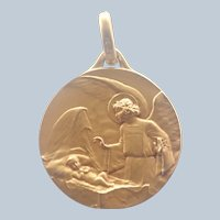 French Art Deco Gold Filled Guardian Angel Medal or Pendant - FIX