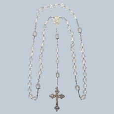 French Antique Silver and Crystal Glass Fleur de Lis Rosary