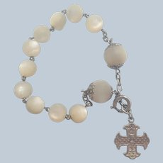 French Religious Dizainer Silver and Mother of Pearl Bracelet