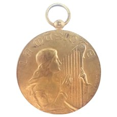 French 1914 St Cecelia Gilt Bronze Meal - F RASUMNY