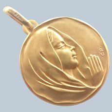 French Gold Filled Virgin Mary Medal - ORIA
