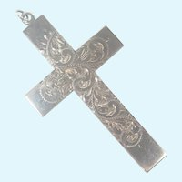 English Large Sterling Silver Engraved Cross Pendant