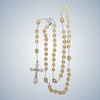 French 19C Silver Citrine Glass Rosary