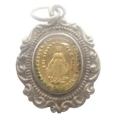 French Antique Silver and Gold Miraculous Medal or Charm