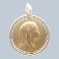 French ORIA Gold Filled Virgin Mary Medal - E Dropsy