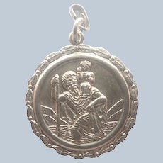 English Sterling Silver St Christopher Pendant