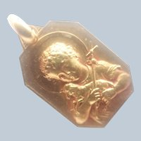French Art Deco Gold Filled John the Baptist Medal or Charm