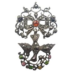 French Antique Silver St. Esprit Holy Dove Pin