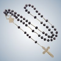 French  Circa 1900 Garnet and Silver Rosary