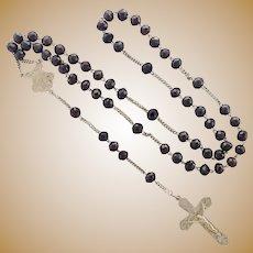 French  Circa 1900 Garnet and Silver Rosary
