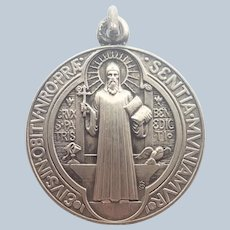French St Benedict Silvered Metal Medal