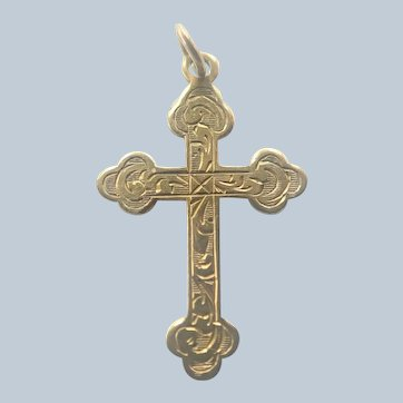 English Antique 9K Gold on Sterling Silver Small Cross