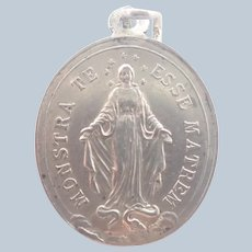 French Antique Silver Mary Mother Medal