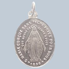 French Antique Silver Small 'Miraculous Medal'