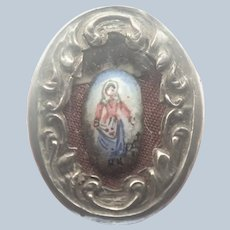 French Antique Silver Reliquary Lourdes Mary Pendant