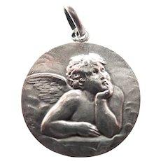 French Circa 1900 - 1910 Silver Cherub Pendant
