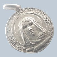 French Antique Silver 'Our Lady of Arms' Medal