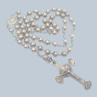 French Antique Silver Rosary - Souvenir of Lourdes