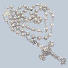 French Antique Silver Rosary - Souvenir of Lourdes