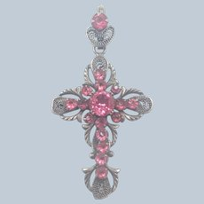 French Antique Silvered Metal and Pastes Cross Pendant