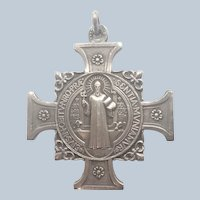 French St Benedict Silvered Metal Cross Medal