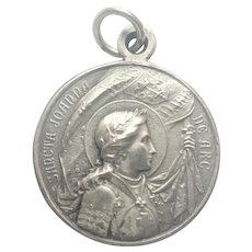 French Art Deco Joan of Arc Silver Plated Medal