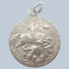 French Antique Silver St George Medal