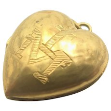 French Ex Voto Gilt Heart Locket