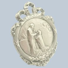French Circa 1910 Silver Plated Religious Communion Standing Plaque