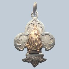 French Antique Virgin and Child Silver and Gold Souvenir Charm