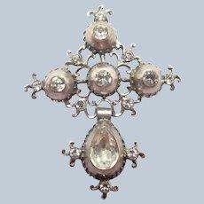 French Provincial Georgian Silver Pastes Cross Pendant