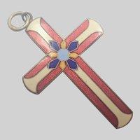 Antique Cloisonné Enamel Cross Pendant
