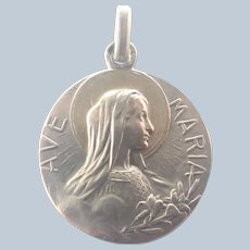 French 1918 Silver Ave Maria Medal