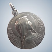French 1917 Silver Virgin Mary Medal - Penin Poncet