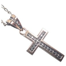 French Antique Silver Vermeil Cross Pendant and Chain