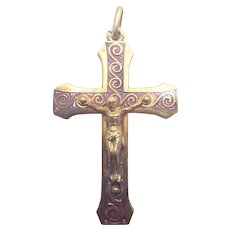 French Art Deco Gold Washed Silver and Enamel Crucifix