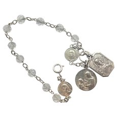 French Art Deco Silver Rock Crystal Dizainier Rosary Bracelet with Medals