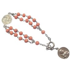 French Silver and Natural Coral Dizainier Bracelet with Medals